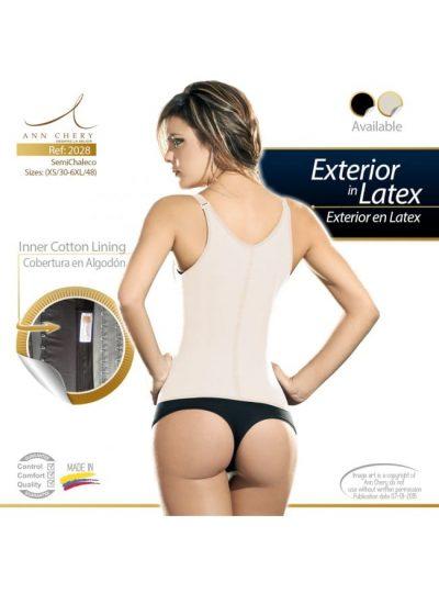 Workout waist trainer beige väst med 2 rader hyskor 2028 bak info