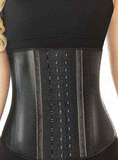 Snygg svart metallic midjetränare som ger ett fint stöd och formar din midja. närbild fram