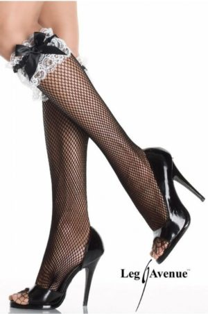 svart knästrumpa med vit spets på modell