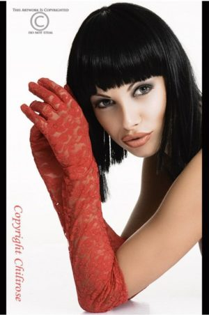 långa röda spets handskar