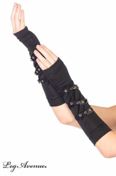svart lång fingerlös handske