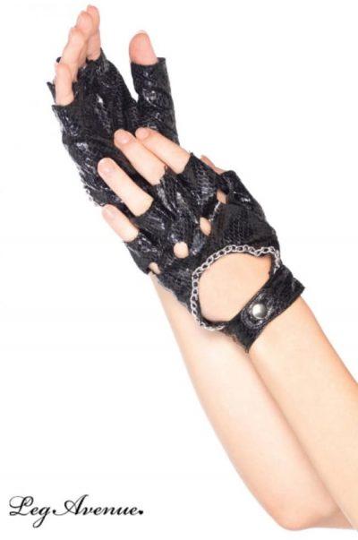 svarta orm mönstrade handskar