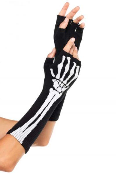 långa fingerlösa handskar med döskallstryck