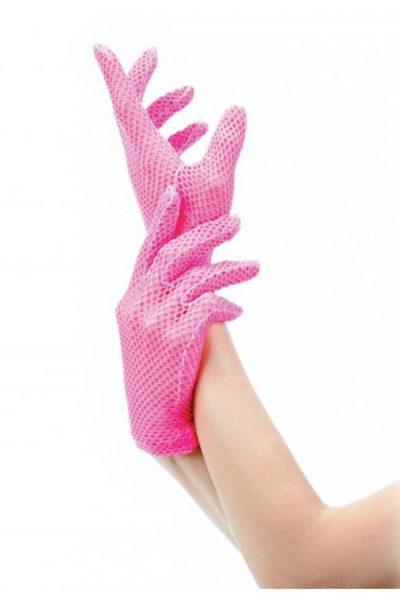 korta neonrosa nät handskar
