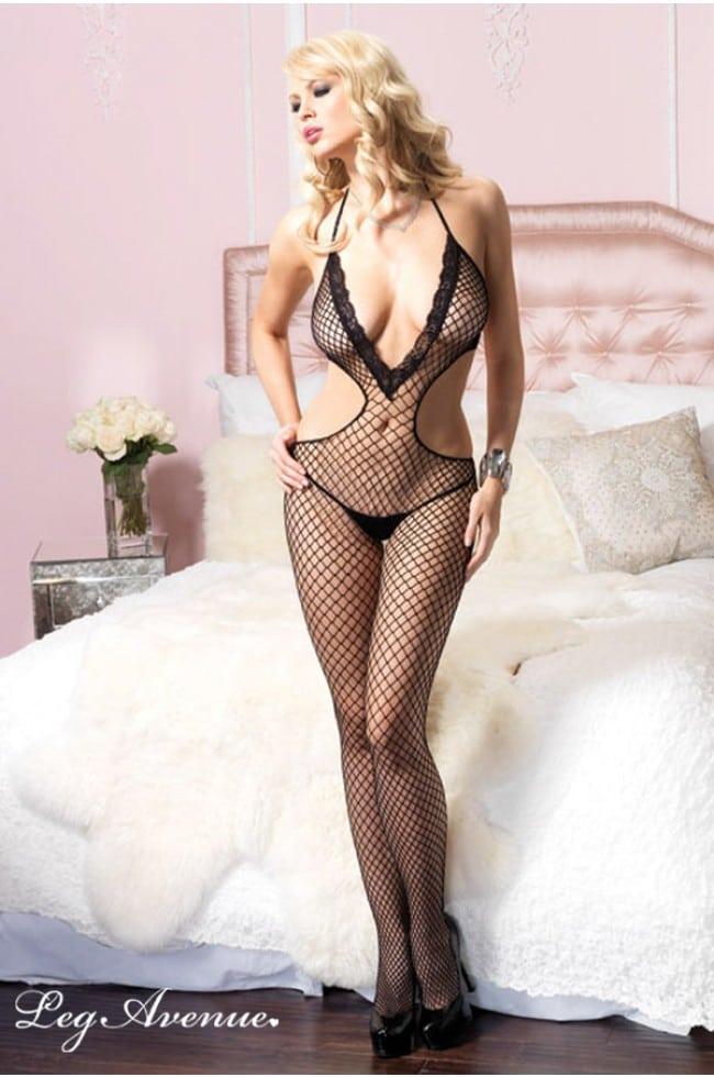 Deep V - Neck Diva - Catsuit fram på modell