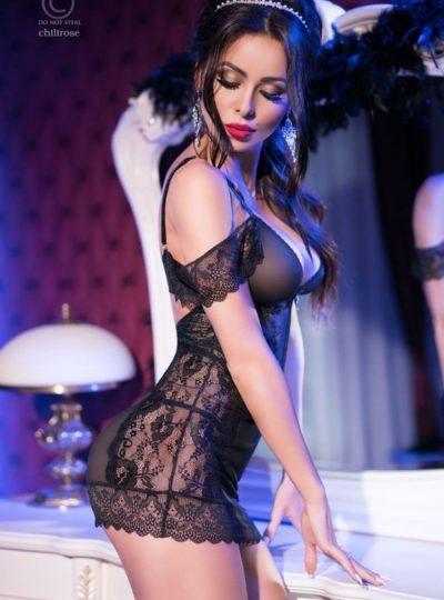 Nattlinne - Black Queen sida på modell