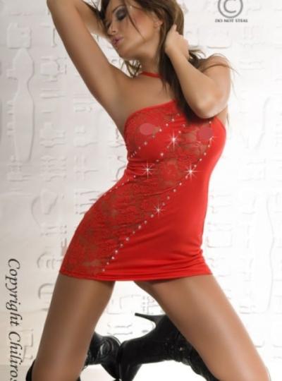 Suzy - Rött Nattlinne set fram på modell