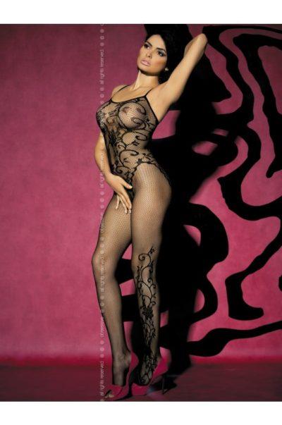 Catsuit i svart nät med läckert mönster - F205