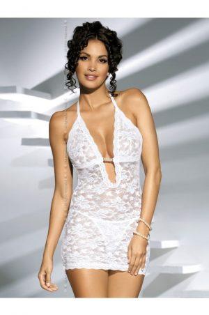 Jennifer vitt spetsnattlinne fram på modell
