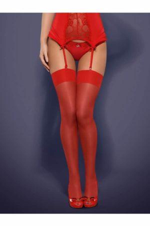 Röda Nylonstrumpor - Red Basic bak på modell fram på modell