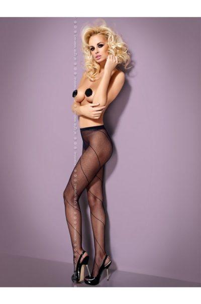 Svarta strumpbyxor i finmaskigt nät på modell