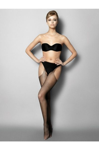 Svarta Höfthållarstrumpor - Strippante Rete på modell