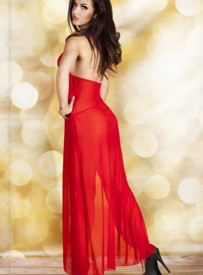 Amour - Röd negligé bak på modell