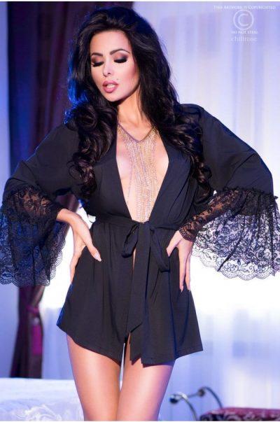 Morgonrock - Black Madame fram på modell