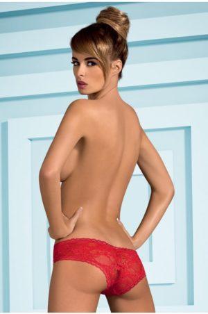 Hotina - Röd sexig spetstrosa bak på modell
