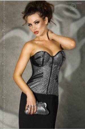 Exklusiv korsett i fint silverfärgat material