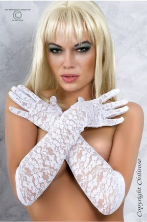Vita långa handskar i spets