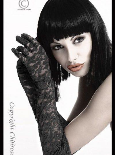Svarta långa handskar i spets