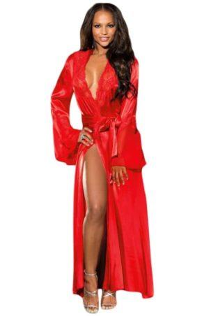 Röd lång morgonrock med knytskärp