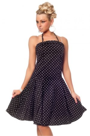 Rockabilly klänning i svart med vita prickar.