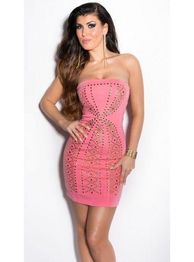 Laxrosafärgad klänning med nitar