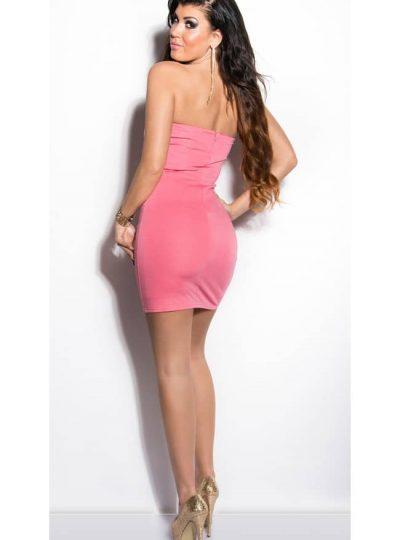 Laxrosafärgad klänning med nitar bakifrån