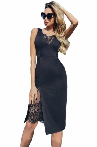 Black lace bodycon klänning