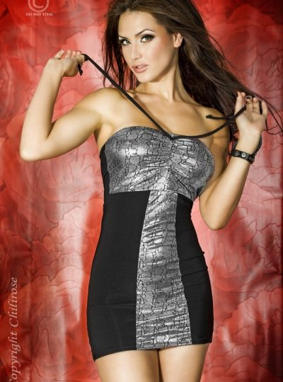Snygg svart klänning med silvermönster