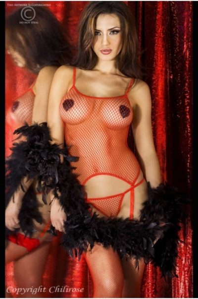 Hot Red - Sexigt Raffset med matchande strumpor