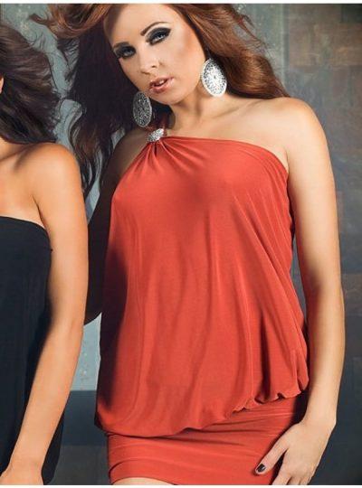 Orange kort klänning med fin detalj vid axeln
