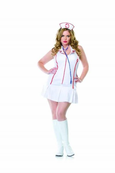 Syndig sjuksyster klänning med röd dragkedja