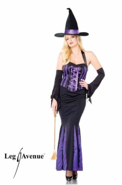Lång snygg klänning med korsettsnörning och hög häxhatt
