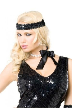 Halsband med svart rosett