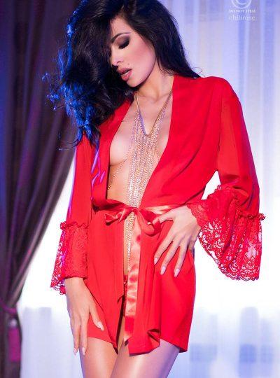 Röd morgonrock i fin modell