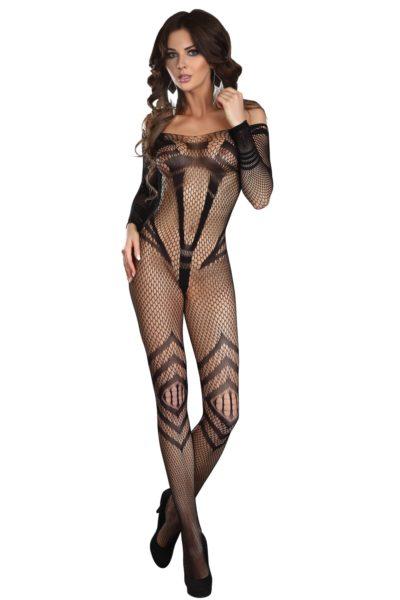 Svart sexig catsuit med fint mönster