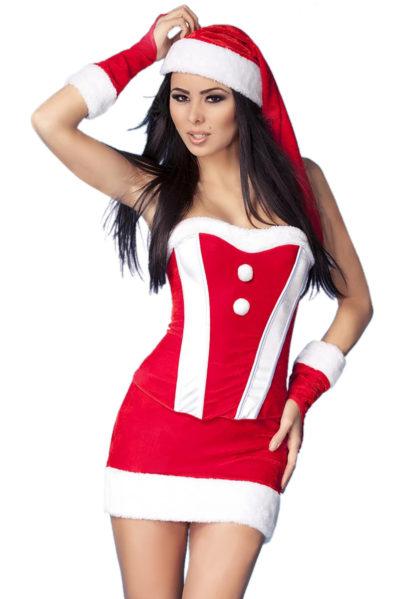 Läckert julset bestående av en mjuk bustier, kjol, handskar och tomteluva.