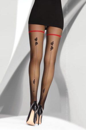 Svarta strumpbyxor med mönster bak