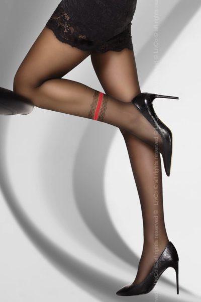 Svarta strumpbyxor med dekor på ena benet