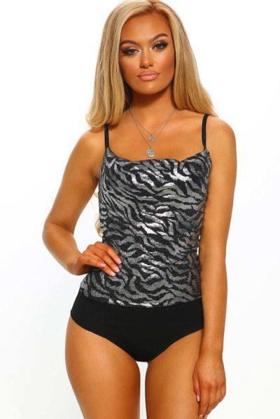 Snygg bodysuit med silver mönster