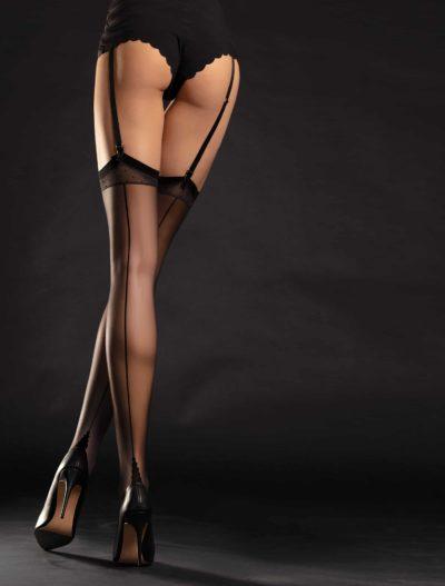 Sexiga svarta nylonstrumpor med baksöm