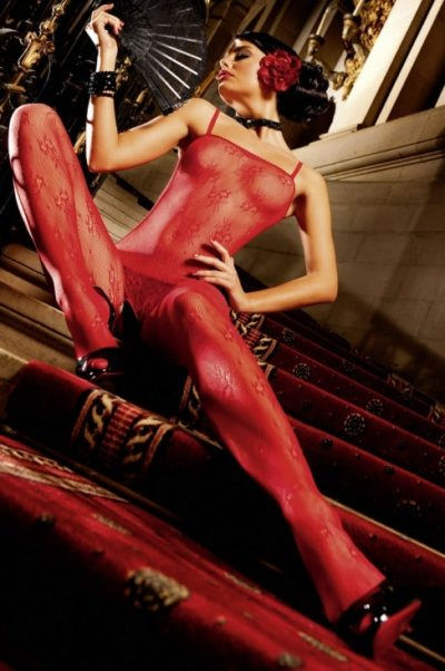 Röd catsuit med mönster
