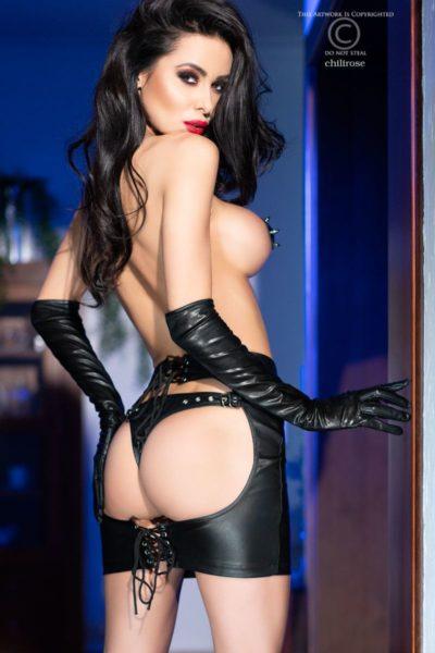 Läderliknande kjol i svart