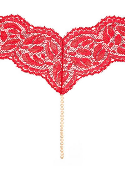 Bracli classic röd stringtrosa med pärlor