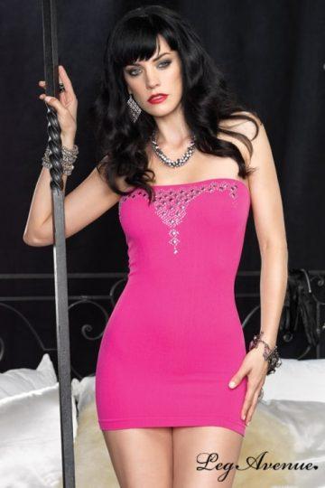 Rosa kort klänning i ribbat material
