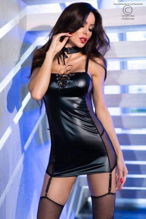 Svart klänning i wetlook