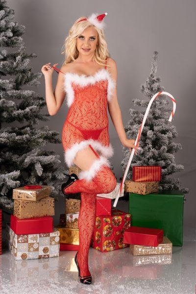 Röd jul kroppsstrumpa