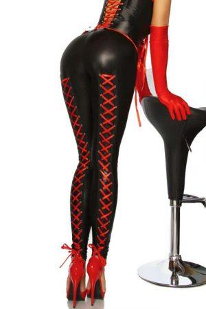 Svarta leggings med röd snörning