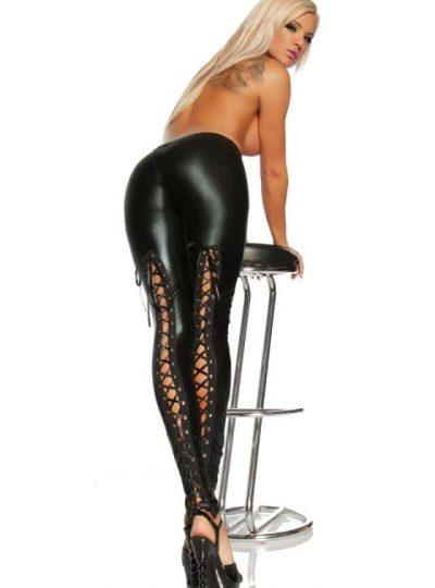 Wetlook leggings med snörning
