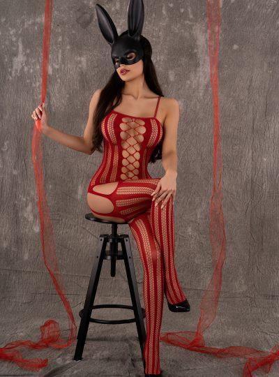 Röd kroppsstrumpa i läcker modell