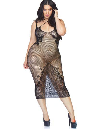 lång nätklänning i svart från Leg Avenue helbild